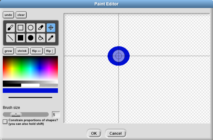 In the Paint Editor window, draw the ball and align the axis with the center of the ball using the cross button like this:
