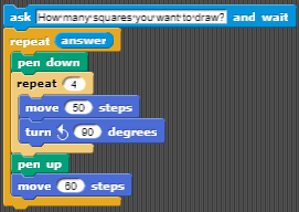 draw the number of squares equal to the user input